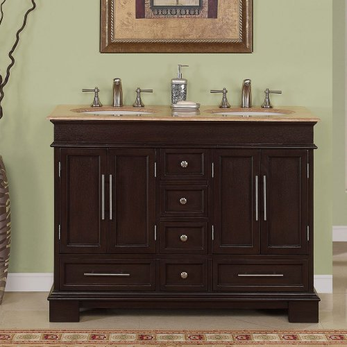 "48"" Double Sink Travertine Top Bathroom Vanity Cabinet Lavat"