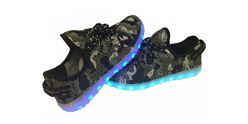 Low-Top LED Sneaker Light Up USB Shoes- Luminous Soles w//Laces for Big Kids /& Juniors Black Camo Mesh Glidekicks Meshd