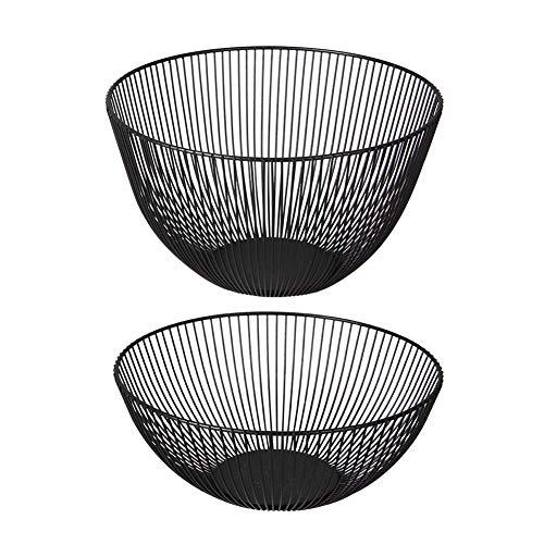 Jovilife 2 pack Fruit Bowls Wire Fruit Basket Round Black Metal Storage Bowl Stand for Kitchen Decorative Metal Frame Fruit Bowl Dessert Organizer