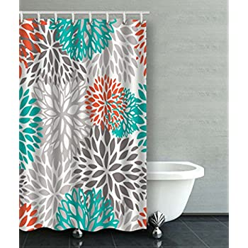 gray and teal shower curtain. Accrocn Waterproof Shower Curtain Curtains Fabric Orange Gray And Turquoise  White Dahlia 36x72 Inches Decorative Bathroom Amazon com Coral Grey Ornate