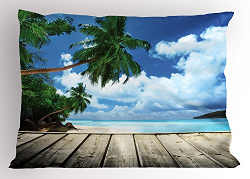 Ambesonne Landscape Pillow Sham, Tropical Island Beach from Deck Pier by The Ocean with Palm Trees Exotic, Decorative Standard Queen Size Printed Pillowcase, 30
