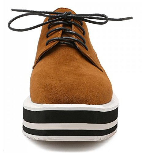 Sfnld Womens Retro Square Toe Striped Thick Sole Wedges Lace Up Loafers Shoes Brown lkL81ZiL