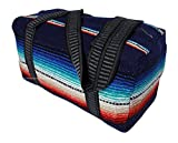 Serape Style Carry On Shoulder Tote Duffel Bag Hand Woven Mexican Serape Design (Navy)