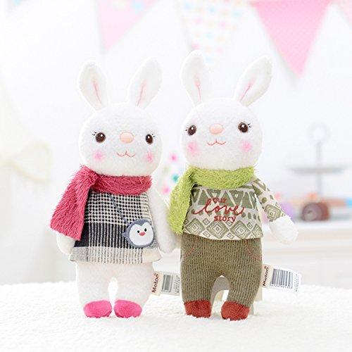 Me Too Tiramitu Stuffed Bunny Dolls Wear Scarf Plush Rabbit Keychain Doll for Girlfriend Boyfriend 9'' 2 - Plush 9' Friends