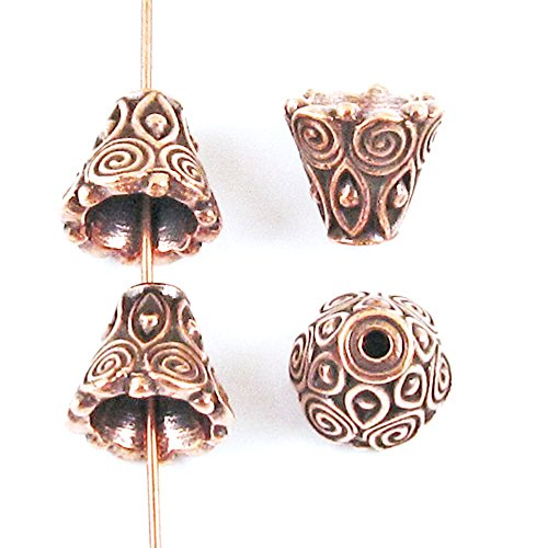 TierraCast Pewter Bead Bell Caps-ANTIQUE COPPER SPIRAL CONE (Pewter Findings Antique Copper Plate)