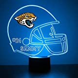 Mirror Magic Store Jacksonville Jaguars Football Helmet LED Night Light with Free Personalization - Night Lamp - Table Lamp - Featuring Licensed Decal