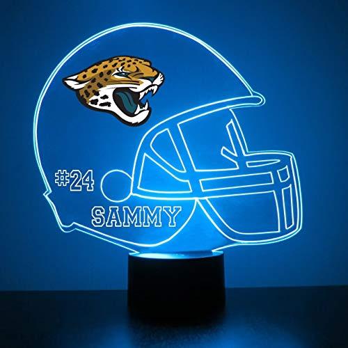 Jacksonville Jaguars Table - Mirror Magic Store Jacksonville Jaguars Football Helmet LED Night Light with Free Personalization - Night Lamp - Table Lamp - Featuring Licensed Decal