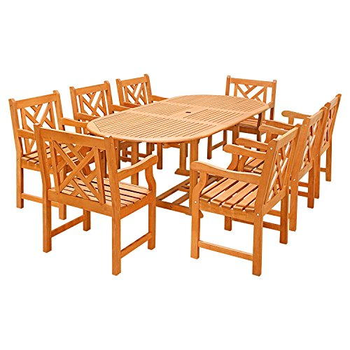 ece Outdoor Wood Dining Set with Oval Extension and Decorative Armchairs ()