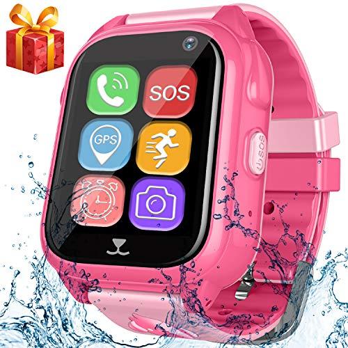 Kids Smart Watch Phone with GPS Tracker Pedometer SOS Camera Sport Fitness Tracker for Boys Girls Digital Wrist Watch Bracelet Wristband Alarm Clock Waterproof IP67 for Holiday Birthday Gifts (Pink)