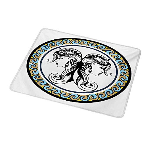 - Mouse Pad Unique Custom Zodiac Gemini,Horoscopes Theme with Wavy Circular Border and Antique Sister Women Portraits,Mousepad Great for Laptop,Computer 9.8