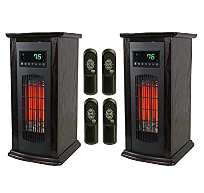 LifeSmart LifePro 3 Element Electric Infrared Quartz Tower Space Heater (Pair)