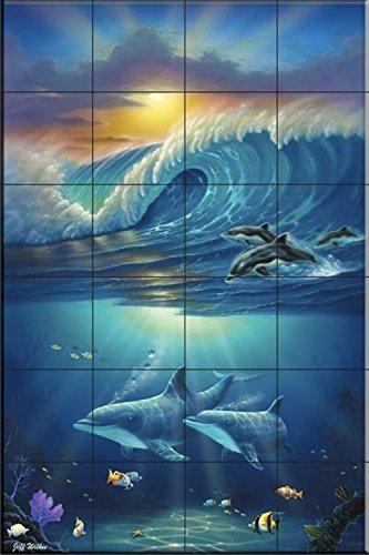 Ceramic Tile Mural - Paradise Surfers- by Jeff Wilkie - Kitchen backsplash / Bathroom - Stores Surfers Paradise
