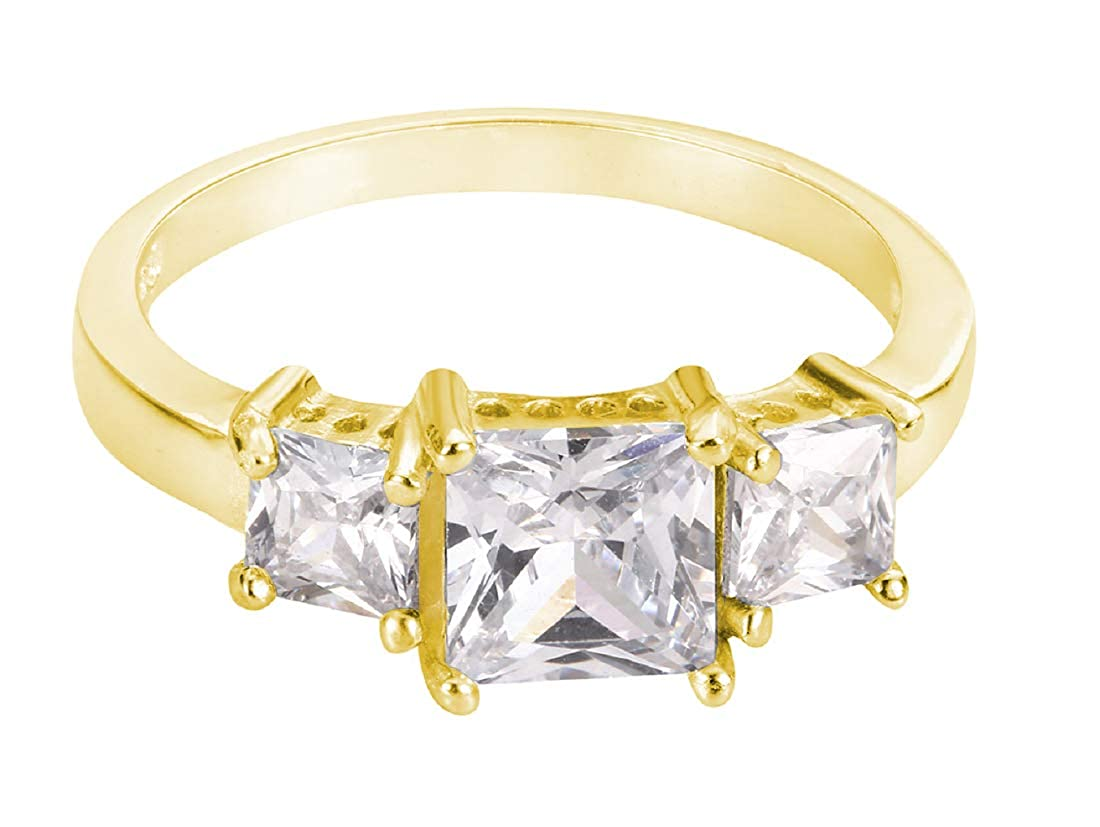 CloseoutWarehouse Princess Cut Cubic Zirconia Three Stones Ring Sterling Silver Color Options, Sizes 2-15