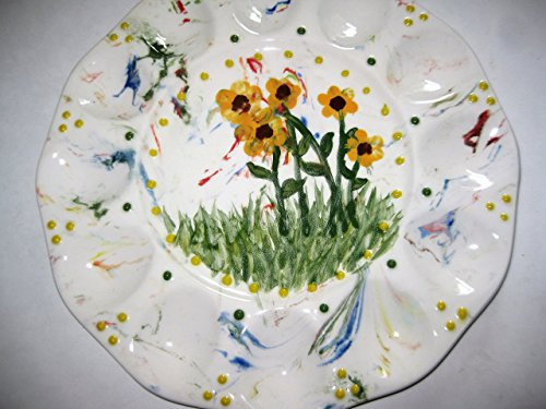 Daisy Platter (USA hand painted marbelized with yellow sunflower and daisies deviled egg platter)