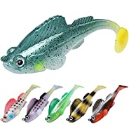 TRUSCEND Fishing Lures, Shad Soft Swimbaits, Pre-Rigged or DIY Fishing Bait for Saltwater & Freshwater, Tr