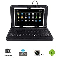 "Tagital 7"" Quad Core Android 4.4 KitKat Tablet PC, Dual Camera, Play Store Pre-installed, 2017 Newest Model Bundled with Keyboard"