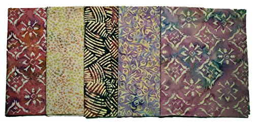 Bali Batiks Premium Batik Half Yard Cuts Pack of 5 (2.5 Yards total) by Java Batiks