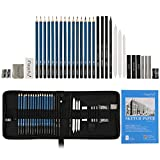 Charcoal Pencil Set, Magicfly 33 Pcs Professional Sketching Pencils, Complete Graphite Drawing Pencils Artist Kit with Sketch Book, Charcoals, Pastels, Tools, Erasers, Kit Bag For Shading, Drawing