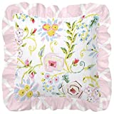 Carousel Designs Pink and Gray Primrose Decorative Pillow Square