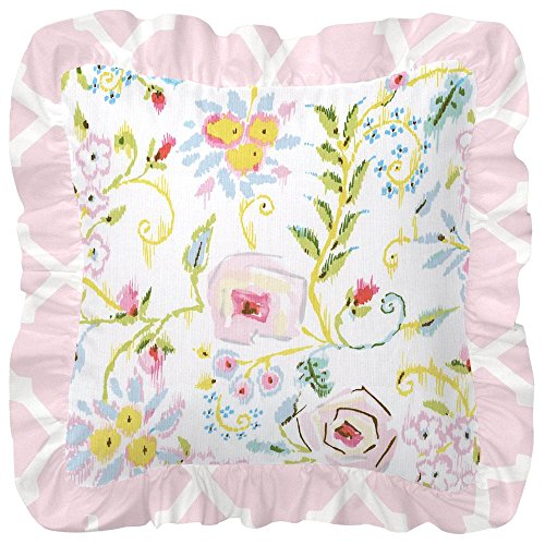 Carousel Designs Pink and Gray Primrose Decorative Pillow Square by Carousel Designs
