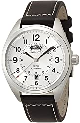 Hamilton Men's 'Khaki Field' Mechanical Hand Wind Stainless Steel and Leather Dress Watch, Color:Black (Model: H70505753)