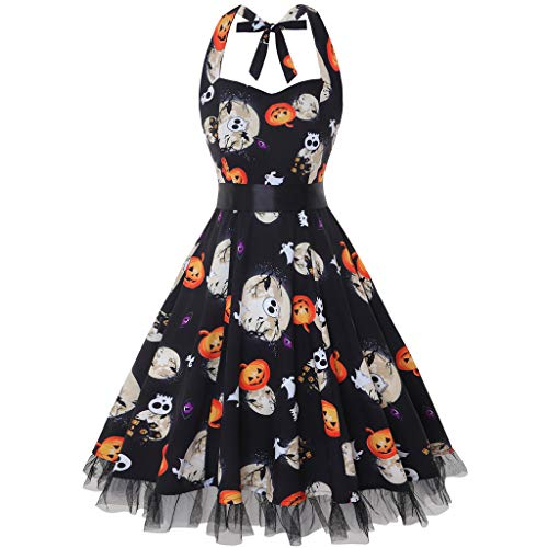 iYBUIA Women's Fashion Halter Ball Gown Halloween Pumpkin Printing Sping Retro Cocktail Dress S-3XL Black]()