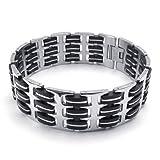 KONOV Wide Mens Bangle Bracelet, Stainless Steel Rubber, Black Silver