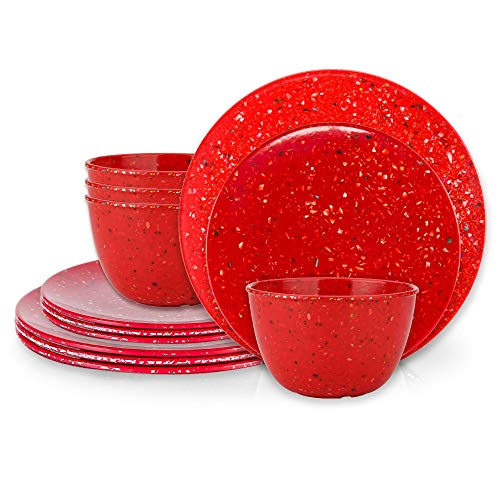 Zak Designs Confetti Melamine Dinnerware Set Includes Dinner Plates, Salad Plates, and Individual Bowls, Durable and Eco-Friendly (Red, 12-Piece Dinnerware Set Service for 4, BPA Free)