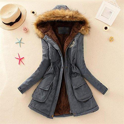 Manadlian largo invierno Chaqueta Chaqueta mujer cálido Gris de Outwear de mujeres capucha de con cuello piel y Abrigo para Parka SFBxqEpBw