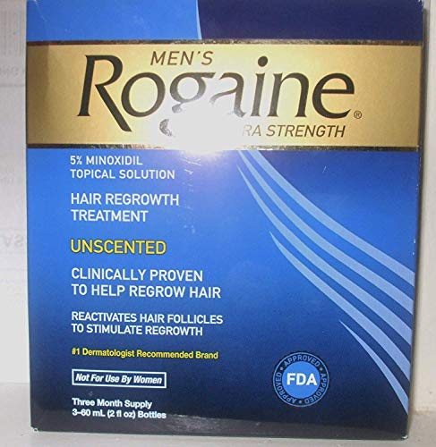 Rogaine for Men Hair Regrowth Treatment, Extra Strength Original Unscented, 12-month supply