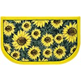 "Sweet Home Collection Sunflower Yellow & green Slice Polyester Kitchen Rug - 18"" x 30"", 2 Pack"