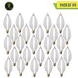 Perlite Lighting (Pack of 25) 60C11S/130 60-Watt C11 Spunlite Satin Candelabra E12 Base 130-Volt Light Bulb