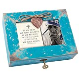 Cottage Garden If We Pray Love Mother Teresa Teal Wood Locket Jewelry Music Box Plays Tune Amazing Grace