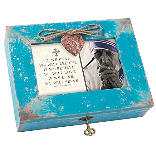 Theresa Music Box - Cottage Garden If We Pray Believe Love Serve Teal Distressed Jewelry Music Box Plays Amazing Grace