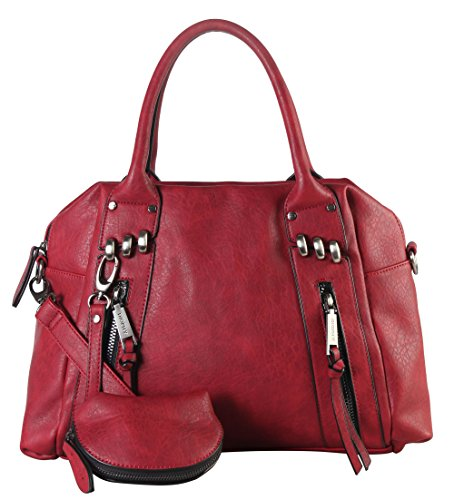 diophy-double-front-zipper-tote-bag-with-one-detachable-coin-pouch-cz-3720-wine