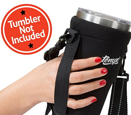 Tumbler Carrier Holder Pouch+Tight Hand Strap For All 30oz. Stainless Steel Travel Insulated Coffee Mugs, Neoprene Black Sleeve Accessories, Light Hand Free Bag, Protective, Washable, Adjustable Strap ()