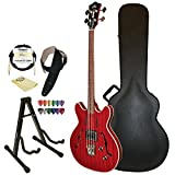 Guild Starfire Bass CHR Semi-Hollow Electric Bass Guitar, Cherry Red, Guild Hard Case, Cable, Strap, Picks, Stand and Polish Cloth