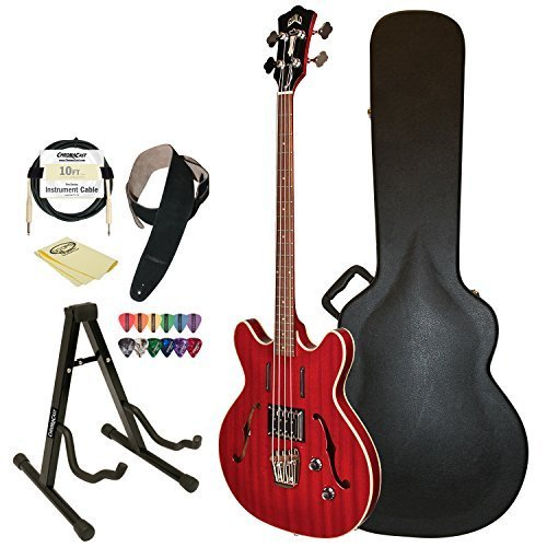 Guild Starfire Bass CHR Semi-Hollow Electric Bass Guitar, Cherry Red, Guild Hard Case, Cable, Strap, Picks, Stand and Polish Cloth by Guild