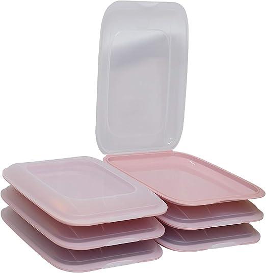 Engelland – cajas de corte apilables de alta calidad, fiambrera para cortar. Recipiente para salchichas. Orden perfecto en el frigorífico, 6 unidades, color rosa, dimensiones 25 x 17 x 3,3 cm: Amazon.es: Hogar