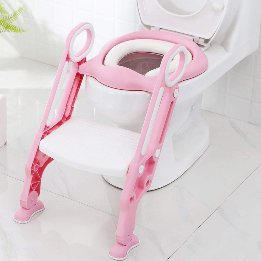Toilet Ladder Potty Shelf Stool,Foldable Training Soft Seat for Kids, Adjustable Footrest, with Non-Slip Steps & Anti-Slip Pads Potty Step for Baby,Toddlers and Child, Pink and White