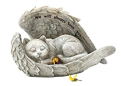 Cat Sleeping in Angel Wings Pet Memorial Garden Statue We will Always Love You