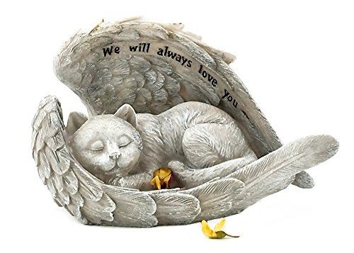 Cat Memorial (Cat Sleeping in Angel Wings Pet Memorial Garden Statue We will Always Love You)