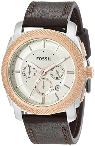 Men's  Machine Two-Tone Stainless Steel Watch with Brown Leather Band - Fossil FS5040
