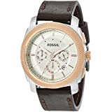 Fossil Men's FS5040 Machine Two-Tone Stainless Steel Watch with Brown Leather Band