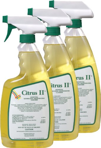 Citrus II Hospital Germicidal Deodorizing Cleaner Spray Citrus, 22-Ounces Each, Pack of 3