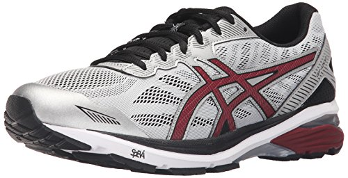 ASICS Men's Gt-1000 5 Running Shoe, Glacier Gray/Pomegranate/Black, 8 M US