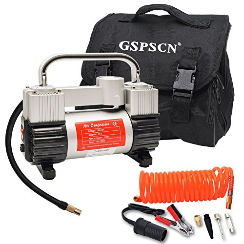 Compressed Air Efficiency - GSPSCN Tire Inflator Heavy Duty Double Cylinders with Portable Bag 12V Metal Air Compressor Pump 150PSI with Adapter to 150 PSI for Car, Bike, SUV Tires, Dinghy, Air Bed etc