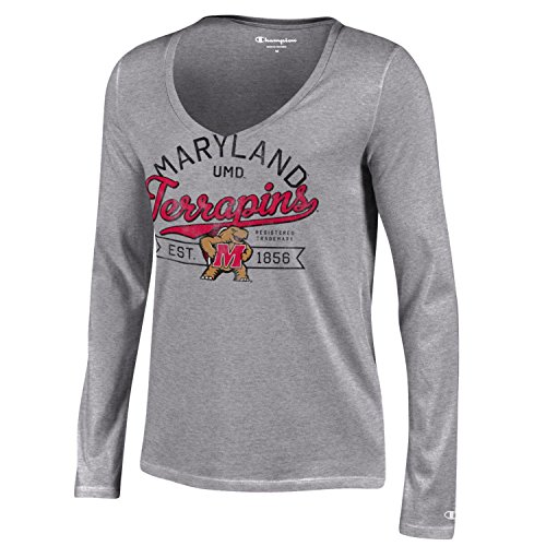 NCAA Maryland Terrapins Women's Champion University Long sleeve V-Neck T-Shirt, Small, Gray