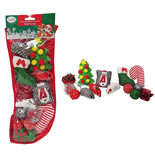 Midlee Cat Christmas Stocking with Toys - 14 Toys -