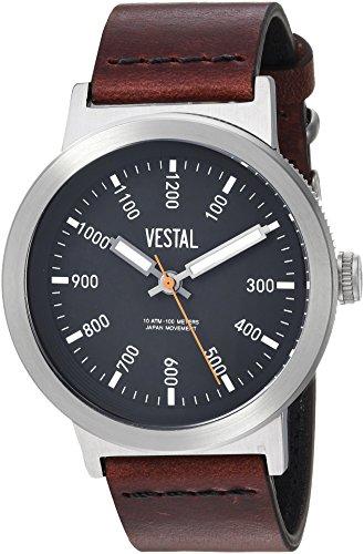 Vestal Men's 'Retrofocus' Quartz Stainless Steel and Leather Casual Watch, Color:Brown (Model: SLR443L01.3VBK)